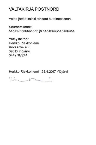 valtakirja vakuutusyhtiölle Uusikaarlepyy
